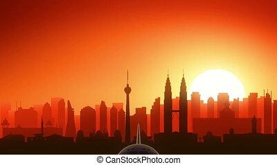 Kuala Lumpur Malaysia Airplane Take Off Skyline Golden...