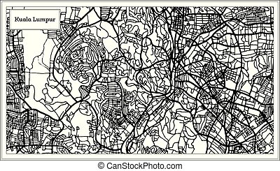 Kuala Lumpur Malaysia City Map in Black and White Color.