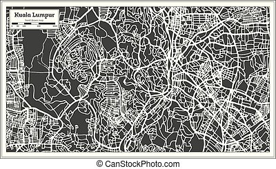 Kuala Lumpur Malaysia City Map in Retro Style. Outline Map.