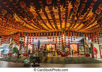 KUALA LUMPUR, MALAYSIA - MARCH 31, 2018: Night view of Thean Hou Temple in Kuala Lumpur, Malaysia.