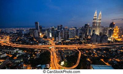Timelapse of Kuala Lumpur cityscape at night