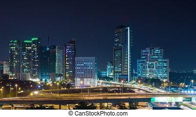 Kuala Lumpur night traffic time lapse