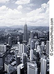 Kuala Lumpur - View of Kuala Lumpur cityscape in black and...