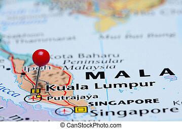 Kuala Lumpur pinned on Asia map - Photo of pinned Kuala...