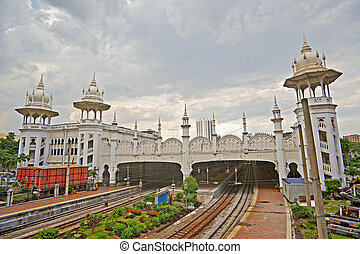 Kuala Lumpur Railway Station with spectacular towers,...