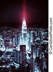 Kuala Lumpur skyline at night, futuristic toning, effects -...