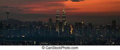 Kuala Lumpur Skyline at Sunset Panorma