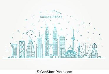 Kuala Lumpur skyline . Linear banner of Kuala Lumpur city