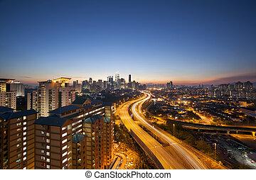 Kuala Lumpur Skyline with Highway at Twilight
