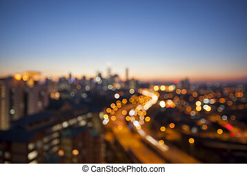 Ampang Kuala Lumpur Elevated Highway AKLEH with City Skyline in Malaysia at Twilight Blurred Defocused Bokeh Background