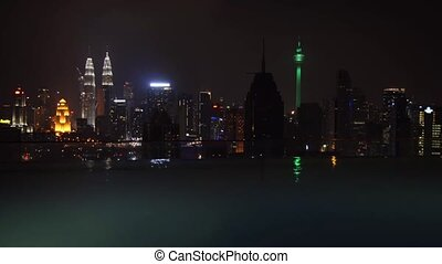 Kuala Lumpur's Night Time Cityscape from Hotel's Rooftop...