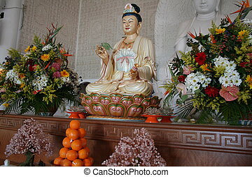 Kuan Yin - Altar with Kuan Yin, Chinese goddess of mercy