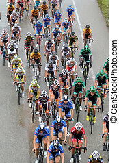 KUANTAN, MALAYSIA - MARCH 2: Group of riders action during race in stage 8 of the Le Tour de Langkawi from Pekan to Cukai on March 2, 2012 in Kuantan, Malaysia.