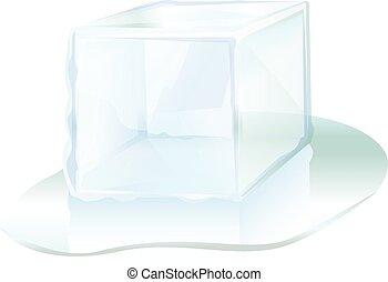 kub, is, vektor, illustration, kvarter, ikon