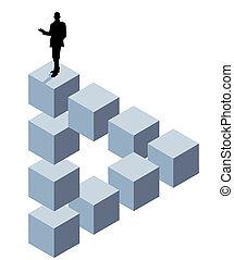kub, tredimensionell