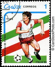 kuba, 1990, zirka, kuba, briefmarke, italien, 1989., becher, -, meisterschaften, gedruckt, welt, fußball, 1989:, shows