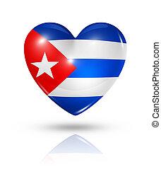 kuba, szív, lobogó, szeret, ikon