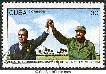 kuba, tillgiven, 1974, jag., leonid, stämpel, besöka, fidel,...