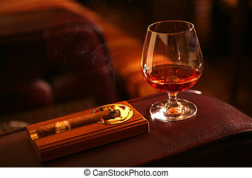 kubanische, kognak, zigarre, glas