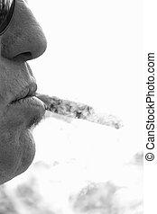 kubanka, cygaro, palacz, 3, dym, palenie