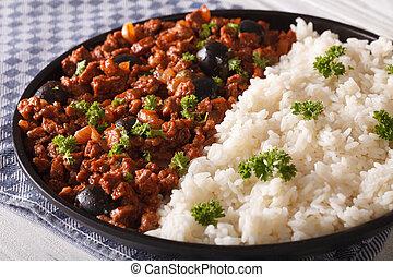 kubanka, food:, picadillo, półmisek, close-up., poziomy, ryż, bok
