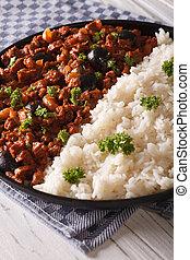 kubanka, food:, pionowy, picadillo, półmisek, close-up., ryż, bok