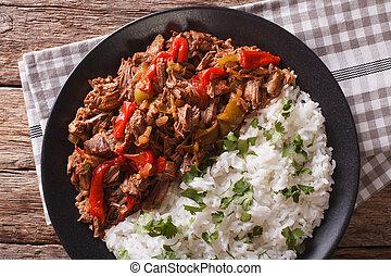 kubanka, vieja, cuisine:, ryż, ropa, garnirować, prospekt, poziomy, closeup., górny, mięso