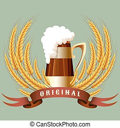 kubek, chorągiew, piwo, zboże, kłosie