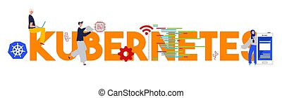 Kubernetes programming language tools technology development software. Vector illustration
