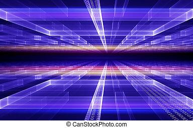 kubisch, perspektive, mit, binärcode, datenfluß