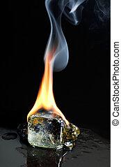 kubus, burning, ijs