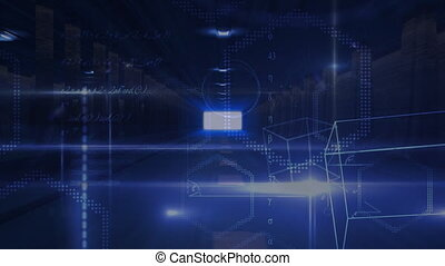 kubus, donker, symbool, digitale , gang, wiskunde, zwevend
