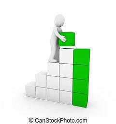 kubus, groene, menselijk, toren, witte , 3d