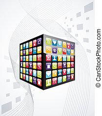 kubus, iconen, beweeglijk, globaal, apps, telefoon