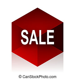 kubus, moderne, verkoop, ontwerp, achtergrond, witte , 3d, rood, pictogram