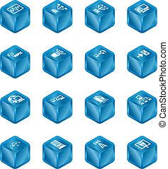 kubus, netwerk, gegevensverwerking, reeks, set., iconen
