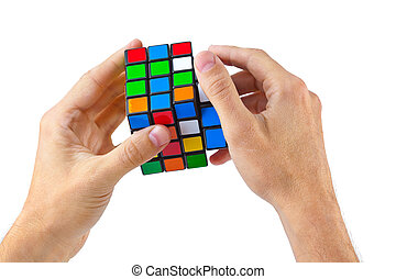 kubus, raadsel, in, handen