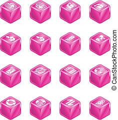 kubus, reeks, set, internet browser, email, pictogram