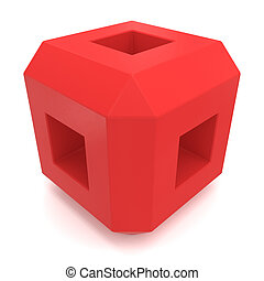 kubus, rood, 3d
