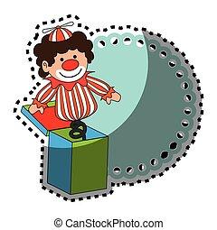 kubus, speelbal, kleurrijke, sticker, clown, verstand, grens