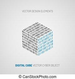 kubus, technology., gecreëerde, 1, getallen, digitale , 0.