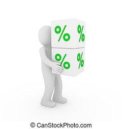 kubus, verkoop, groene, menselijk, witte , 3d