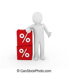 kubus, verkoop, menselijk, 3d