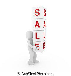 kubus, verkoop, menselijk, wit rood, 3d