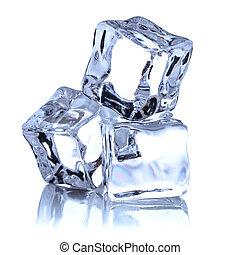kubus, vrijstaand, ijs, achtergrond, witte , cutout