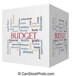 kubus, woord, begroting, concept, wolk, 3d