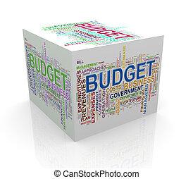 kubus, woord, markeringen, begroting, wordcloud, 3d