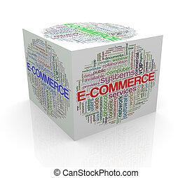 kubus, woord, markeringen, e-handel, wordcloud, 3d