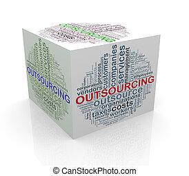 kubus, woord, markeringen, outsourcing, wordcloud, 3d