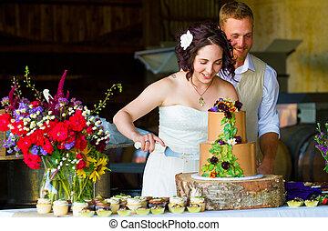 kuchen, braut, schneiden, stallknecht, wedding